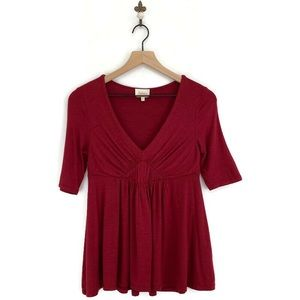Anthropologie Deletta Pleated Empire Tee XS Red
